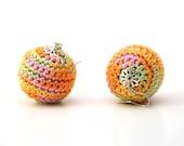 Crochet earrings round colour mania