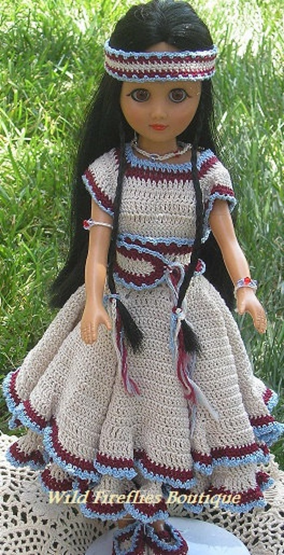 Crocheted American Indian Doll