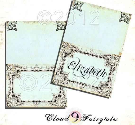 Printable Vintage Tented Place cards - Wedding - Fancy Antique Frame