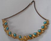 Vintage Golden Necklace with Blue Beads