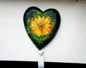 Wall hanging towel holder, Wooden Decoupage wall hanger, Summer Flower
