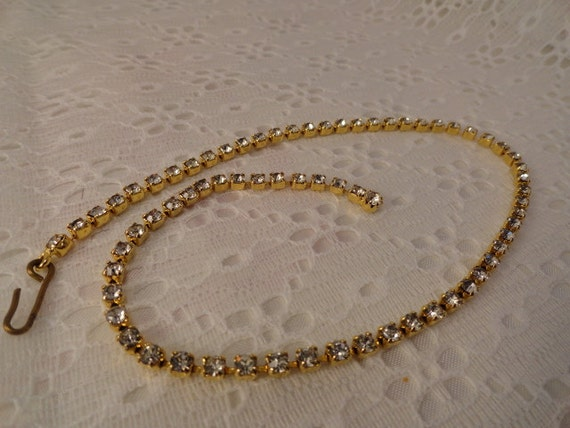 Vintage Goldtone Rhinestone Necklace Single Strand