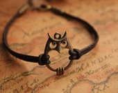 owl bracelet,retro bronze lovely owl pendant bracelet,brown true leather bracelet---B024 - fabuloustime