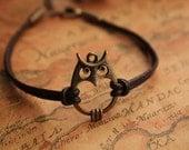 owl bracelet,retro bronze lovely owl pendant bracelet,brown true leather bracelet---B024