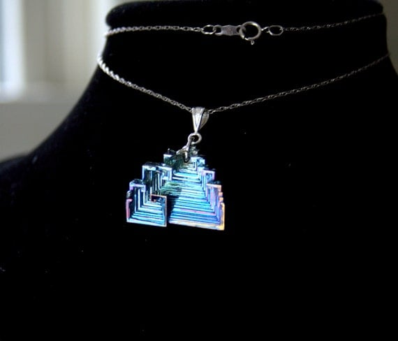 Bismuth Crystal Pendant, Beautiful Iridescent  Colors, Blue Pyramid