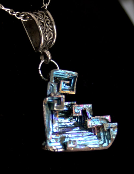 Bismuth Crystal Pendant, Beautiful Iridescent Colors