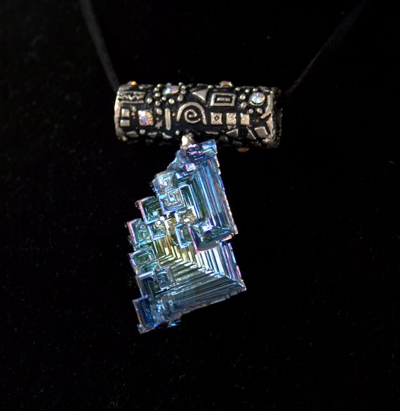 Bismuth Crystal Pendant, Iridescent Colors. Vibrant Labirynth