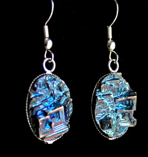Bismuth Crystal Earrings Beautiful Iridescent Crystals In A Oval Silver Plated Frame.