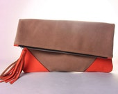 Oversize Suede Leather Clutch in Tangerine