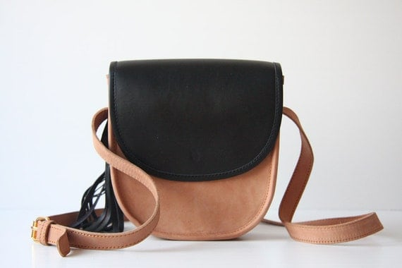 SALE - Cross Body Leather Bag in Black and Nude