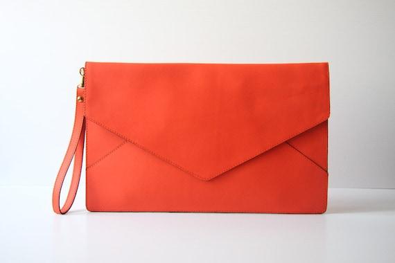 SAMPLE SALE - Oversize Envelope Leather Clutch in Tangerine