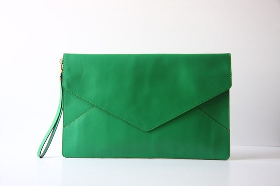 Oversize Envelope Leather Clutch in Kelly Green