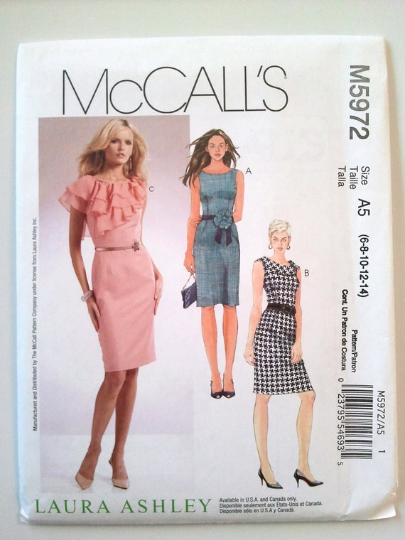 McCalls 5972, Misses Dresses by Laura Ashley, Size 6, 8, 10, 12, 14