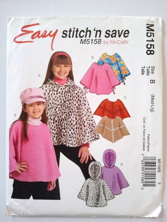 Stitch n Save 5158, Girls Ponchos, Size 7, 8, 10, 12
