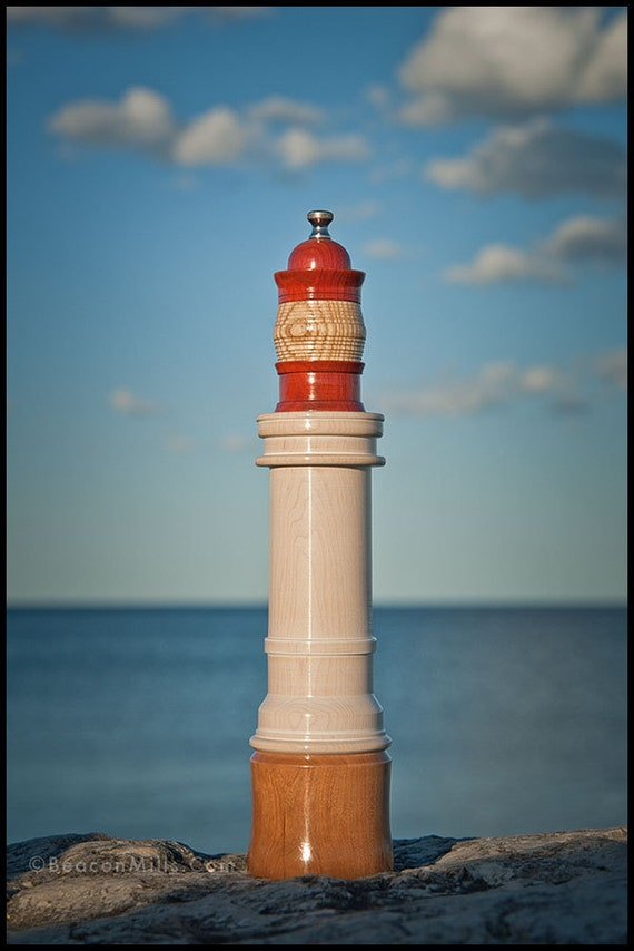 Lighthouse Pepper Mill in Whitewashed Hard Maple with Cherry Wood Base & Redheart Lantern