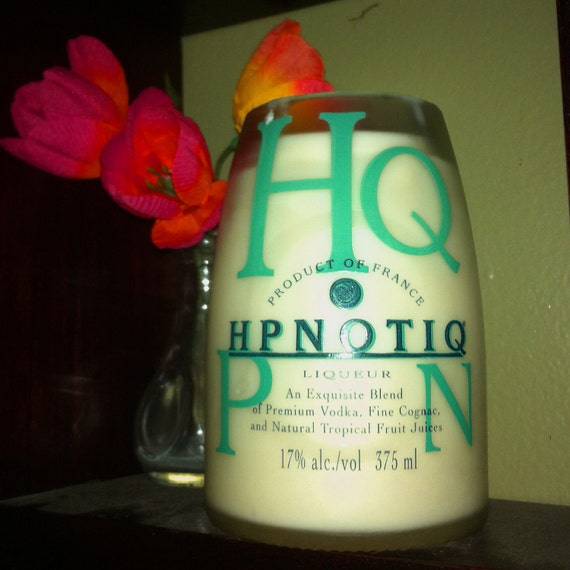 Jamaica Me Crazy Scented Soy Candle in Upcycled Hpnotiq Bottle