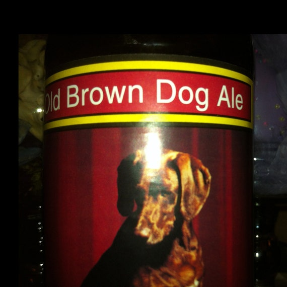 """Chocolate Chip Cookie Scented Soy Candle In Upcycled """"Brown Dog Ale"""" Bottle"""