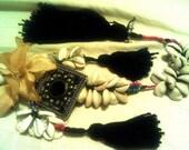 "Tribal Belly Dance 19"" Cowry Shell Hair Tassels"