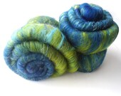 Blue - Green - Art Batt - Merino wool - Angelina - 100g - 3.5oz - AURORA BORE DA