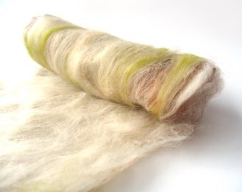 Green and neutral batt - merino wool - spinning - felting - 100g - 3.5oz CIABATTA