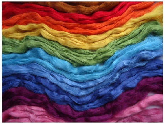 Rainbow Tussah Silk Tops - Rainbow Selection - 100g - 3.5oz - Spinning - Papermaking