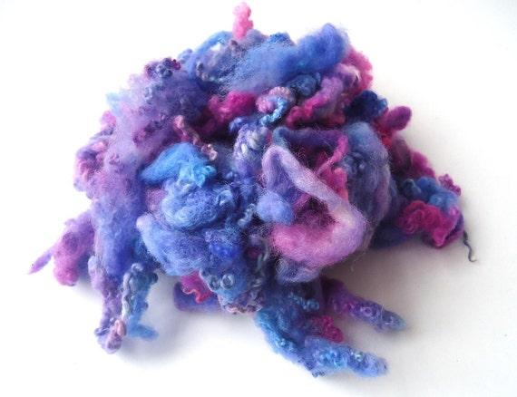 BFL - Fleece - Hand dyed - Spinning - Felting - Violet  - Blue - Pink - 20g - 0.7oz