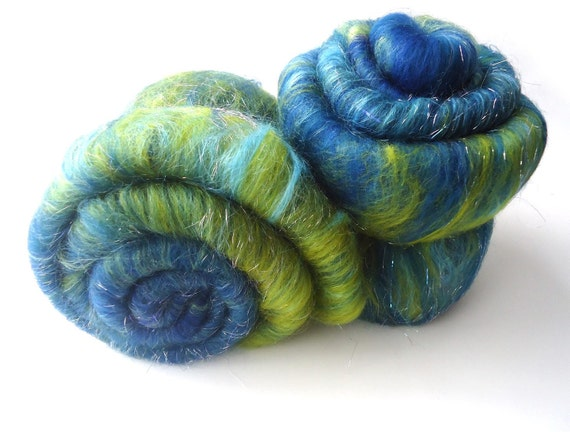 Blue - Green - Art Batt - Merino wool - Angelina - 100g - 3.5oz - AURORA BORE DA