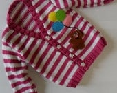 Colourful Stripey Cardigan with Handmade Bear and Balloons Applique