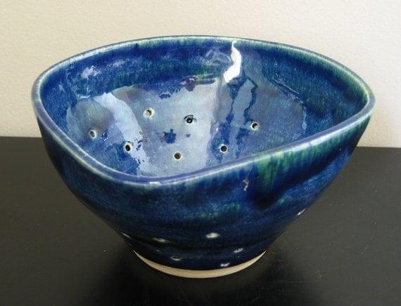Deep Blue Sea Stoneware Colander