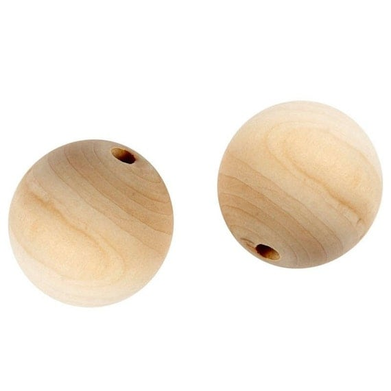 Raw wooden beads, 20 mm.