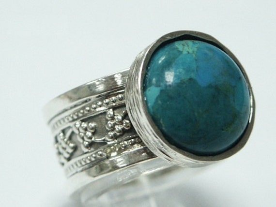 vintage antique 925 silver band ring turquoise stone art fashion size 7