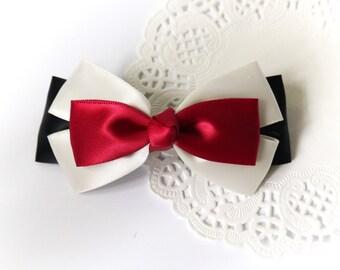 SALE 50% OFF Reddish Pink White Black Satin Ribbon Bow Hair Barrette