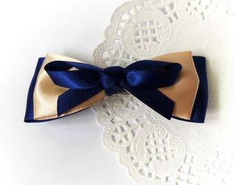 SALE 50% OFF Navy Blue and Khaki Satin Ribbon Bow Hair Barrette Hair Accessories