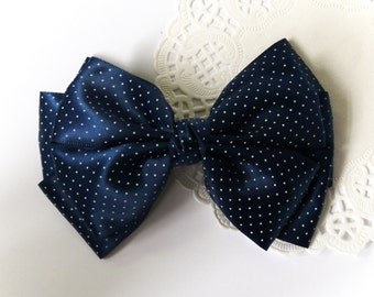 SALE 50% OFF Large Navy Blue and White Polka Dot Satin Ribbon Bow Hair Clip