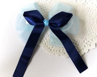 SALE 50% OFF Ligh Blue Organza Ribbon and Navy Blue Satin Ribbon Bow Hair Clip Hair Accessories