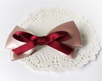 SALE 50% OFF Dirty Pink Satin Ribbon Bow Hair Barrette Hair Accessories