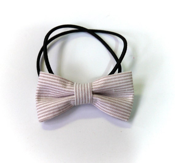 SALE 50% OFF Khaki and White Striped Bows Hair Ponytail Holder