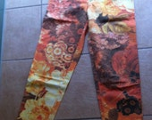 90s original MOSCHINO Jeans with allover flower print in orange/yellow/brown colors