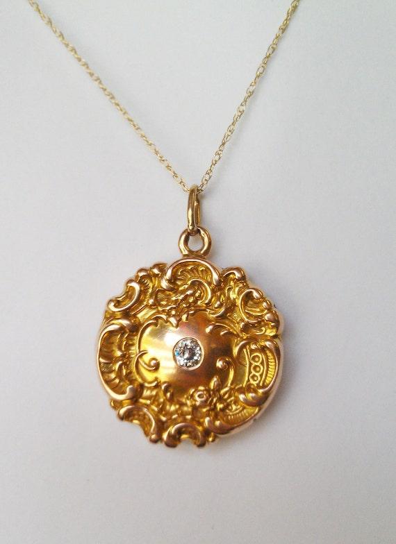 Ornate Antique 14K Gold Locket with Diamond