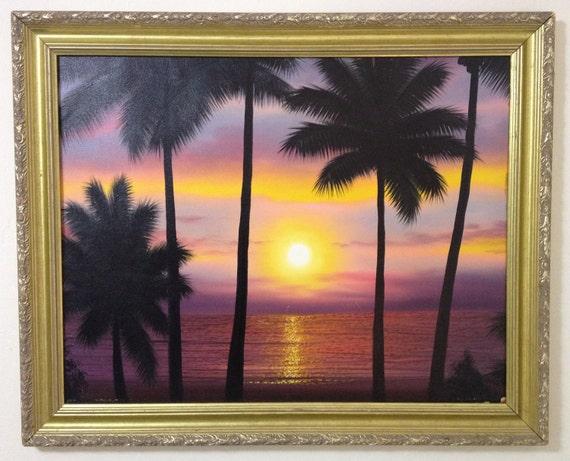 Vintage Sunset Beach Painting