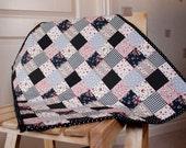 Polka dot patchwork moses basket/pram  quilt