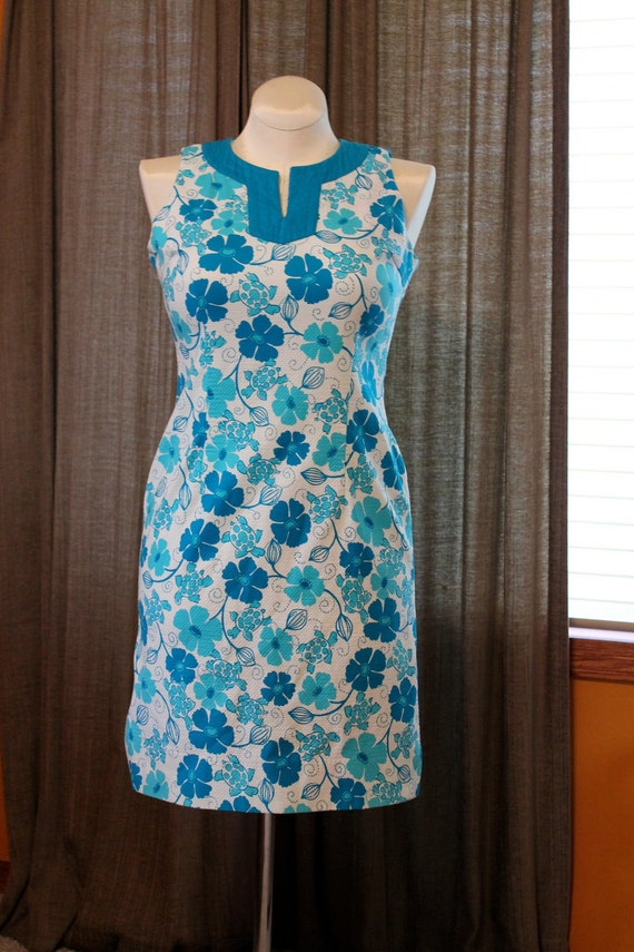 Vintage Lilly Pulitzer dress, 60's fashion in turquoise and white floral stretch cotton, size 4