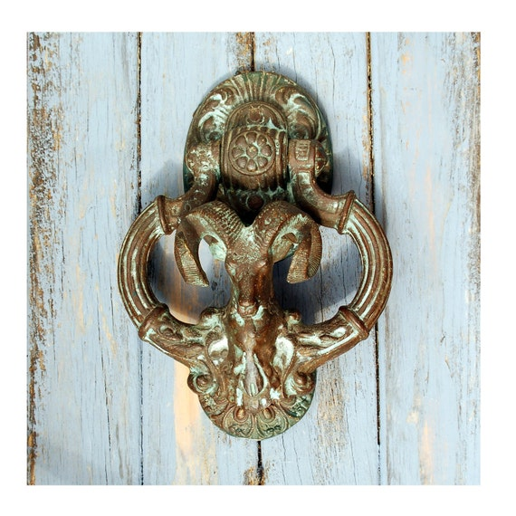 Antique large ram door knocker french victorian aries bronze - Antique bronze door knocker ...