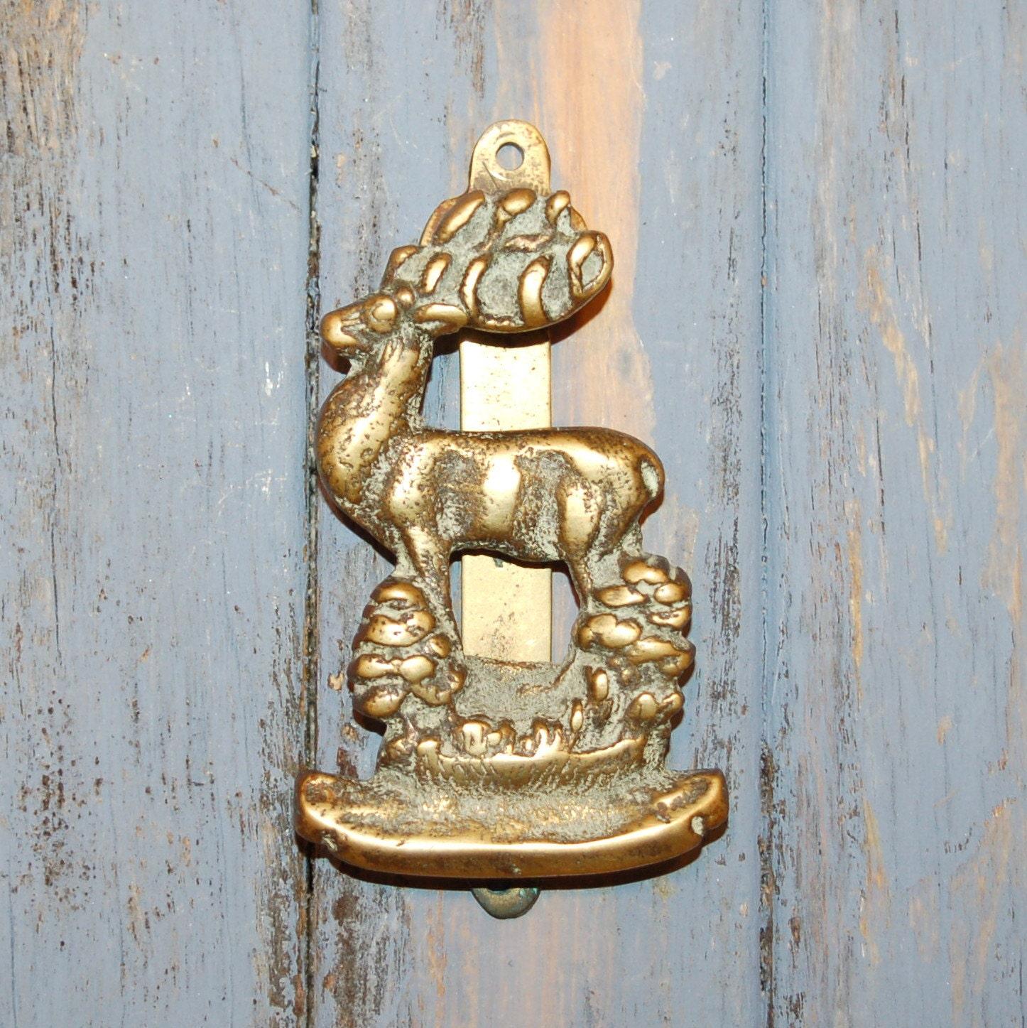 Antique stag door knocker brass - Antique brass door knocker ...