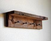 "Rustic key rack, key hanger, reclaimed wall hooks, 17"" x 4"" barn wood hanger with 4 pegs"