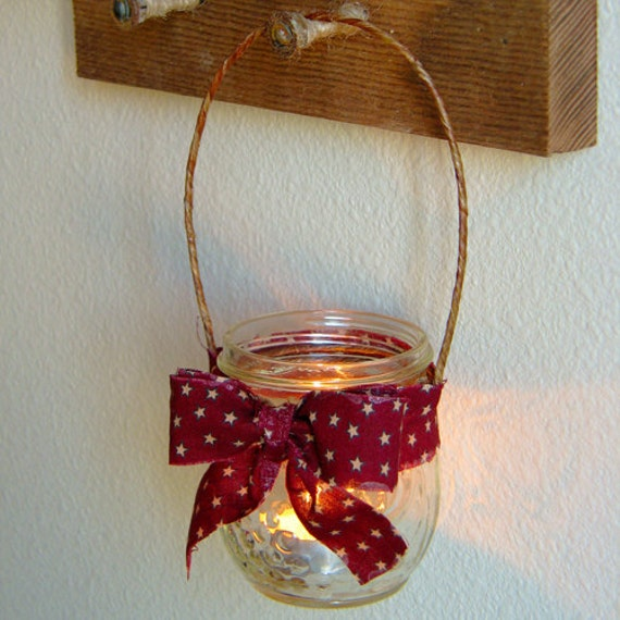 Rustic candle holder, hanging candle holder, red stars