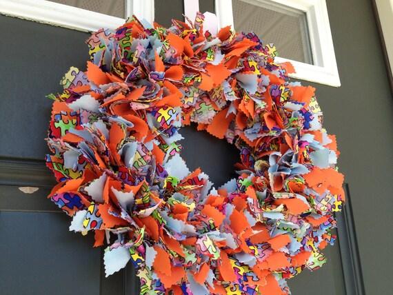 Fabric Autism Awareness Wreath, 14 inches, Front Door Welcome