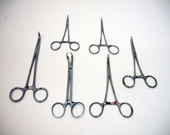 6 Vintage Surgical Forceps / Scissors