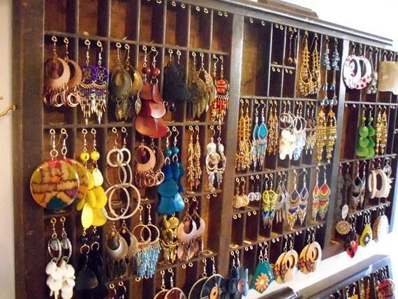 Letterpress ( Printers Drawer) Jewelry / Earrings Display