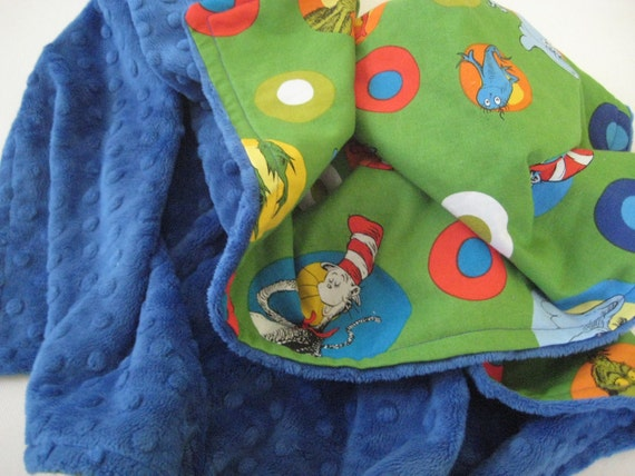 Dr. Seuss and Blue Minky Dot Baby Blanket-Baby Boy-Toddler Blanket